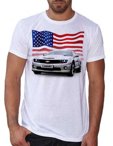 T-shirt blanc homme - Voiture Camaro grise