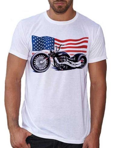 T-shirt homme avec une moto customisée