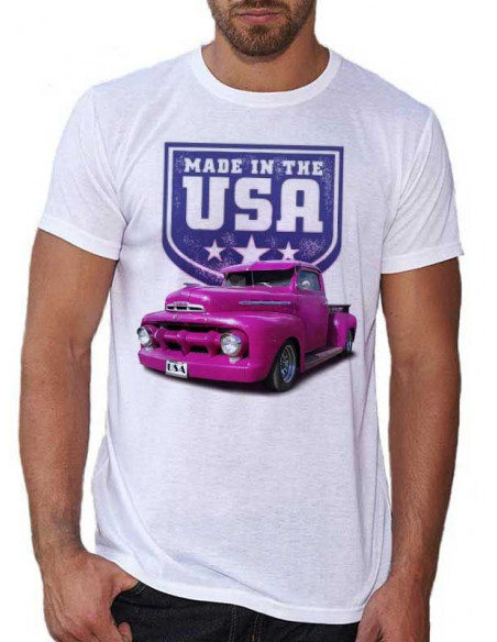 T-shirt blanc -Homme - Voiture Custom Ford