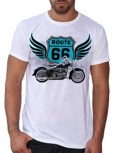 T-shirt Blanc Homme - H.D et Route 66