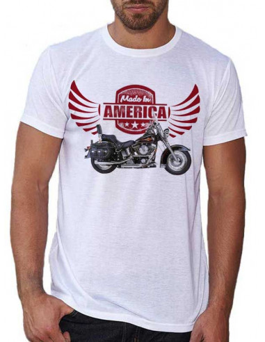 T-shirt Blanc Moto H.D Made in America