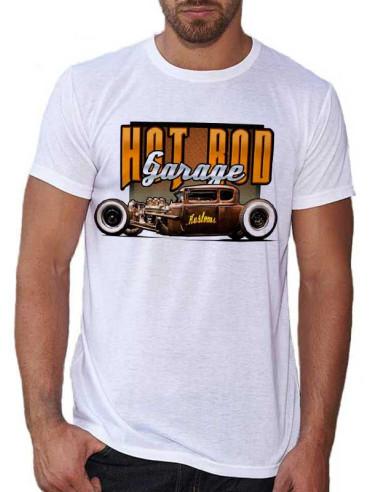 T-shirt blanc, homme. Avec une voiture style vintage