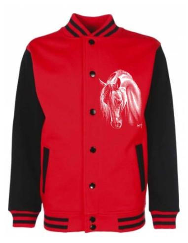 Veste teddy à pressions noir et rouge mixte pour enfants avec un cheval blanc