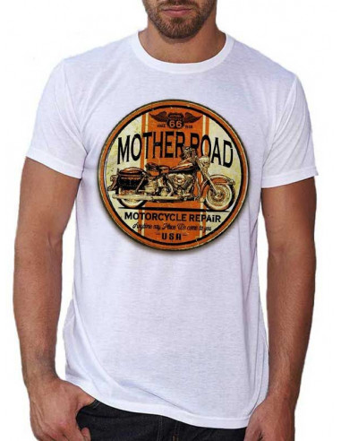 T-shirt Blanc homme - Moto Mother Road