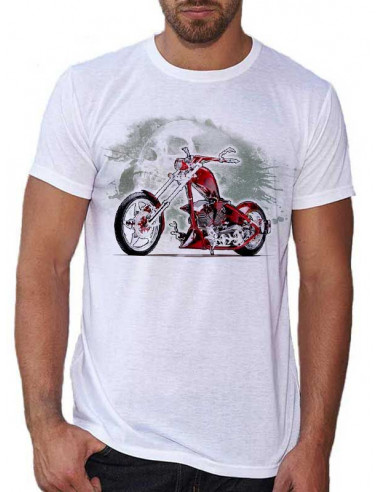 T-shirt Blanc homme - Moto Death Valley