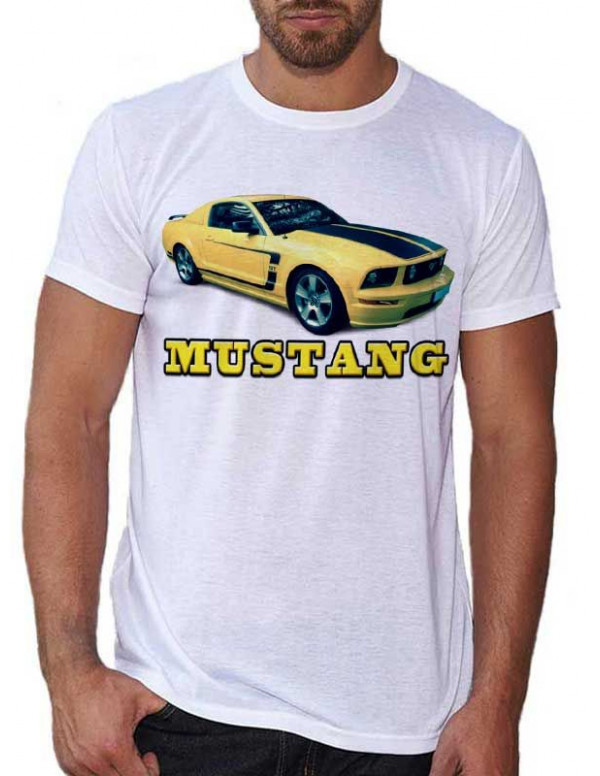 t shirt blanc pour homme avec une voiture la mustang jaune. Black Bedroom Furniture Sets. Home Design Ideas