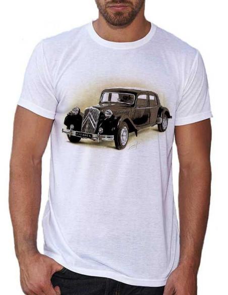T-shirt Blanc - homme - Voiture Citroën traction