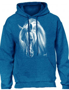 Sweat-shirt capuche - Femme - Cheval au crins blanc. Antique blue