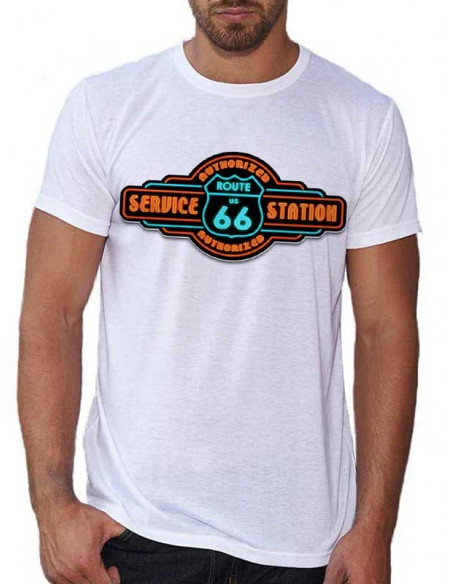 T-shirt Blanc - Homme - Station Service Route 66