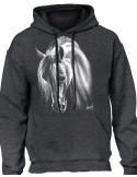 Sweat-shirt gris anthracite avec cheval