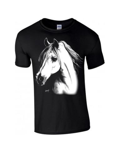 T-shirt noir enfant. Cheval arabe