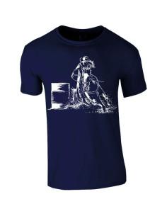 T-shirt bleu-marine, enfant. Cowboy barrel