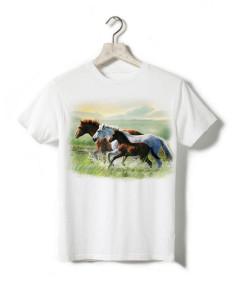 T-shirt enfant - Trois chevaux dans les marais