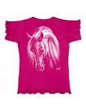 T-shirt fushia enfant - Mouse girl's fashion - Crin blanc
