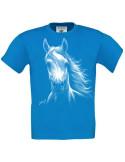 T-shirt bleu turquoise enfant. Cheval blanc