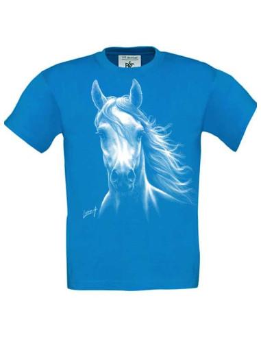 T-shirt bleu enfant Cheval blanc