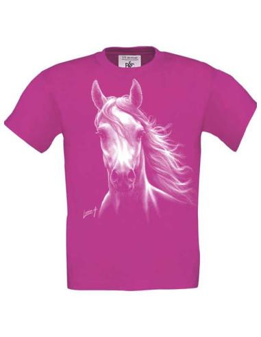T-shirt rose, enfant Cheval blanc