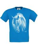 T-shirt turquoise enfant Cheval crins blancs