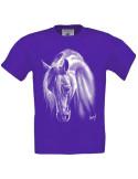 T-shirt violet enfant Cheval crins blancs