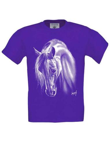 T-shirt violet, enfant Cheval crins blancs