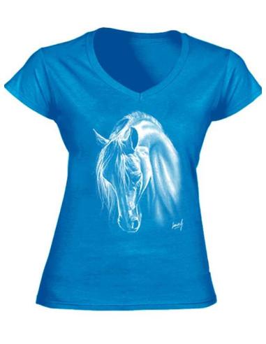 T-shirt couleur bleu, col V - Femme - Cheval Crins blancs