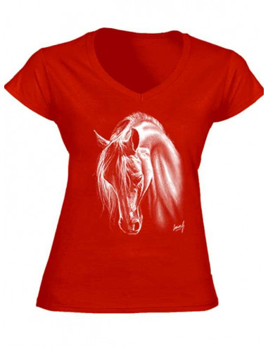 T-shirt couleur rouge, col V - Femme - Cheval Crins blancs