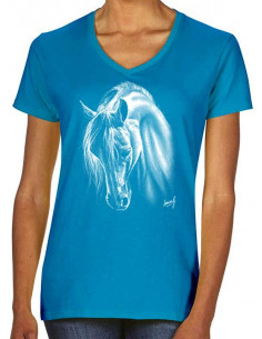 T-shirt turquoise - Femme - Crins blancs