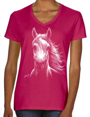 T-shirt fushia femme cheval blanc