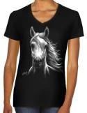 T-shirt noir femme cheval blanc