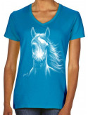 T-shirt turquoise femme cheval blanc