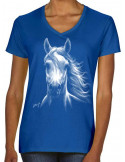 T-shirt bleu-roi femme cheval blanc