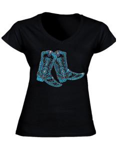 T-shirt Noir - Strass Bottes