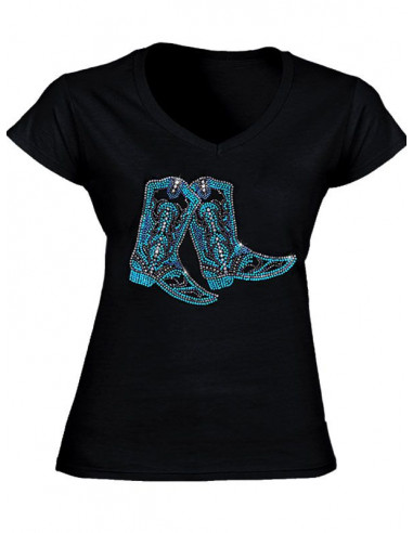 T-shirt Noir - Femme - Strass Bottes