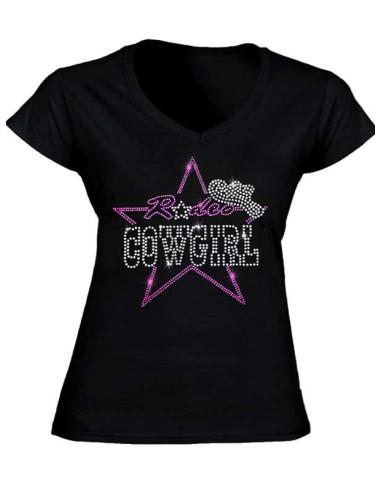 T-shirt noir avec strass Cowgirl