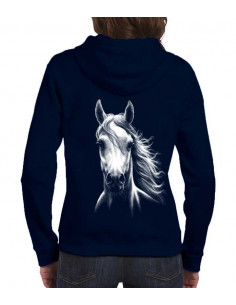 Sweat-shirt avec zip - Femme - Cheval blanc