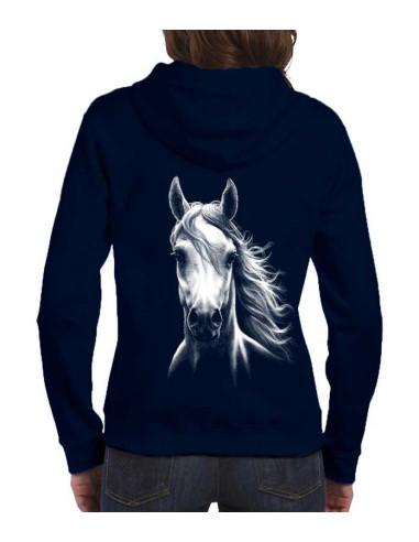 Sweat-shirt bleu marine avec zip - Femme - Cheval blanc. Vue de dos.