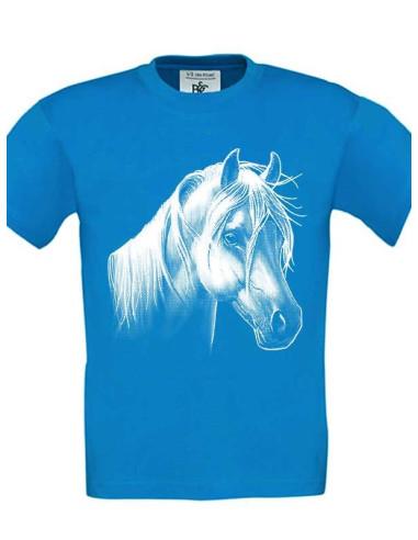 Tee-Shirt couleur bleu, enfant  - Poney