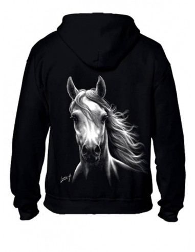Sweat-shirt capuche avec zip enfant - Cheval blanc
