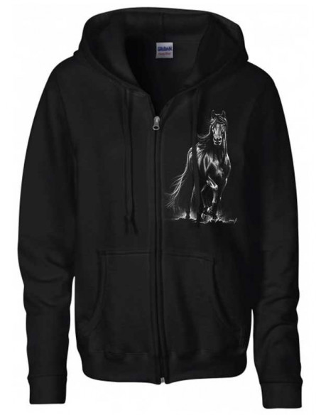 Sweat-shirt noir, capuche et zip  - Frison
