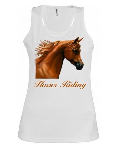Débardeur Blanc Col rond large - Femme  - Horse Riding