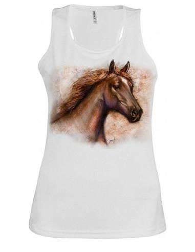 Débardeur Blanc Col rond large - Femme  - Royal horse