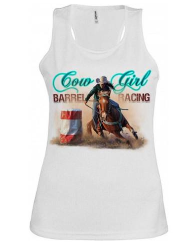 Debardeur blanc- Femme - Barrel racing