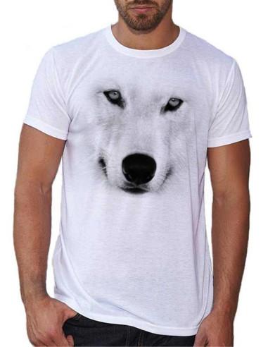 T-shirt homme avec tête de loup blanc