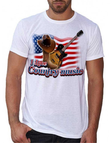 T-shirt Blanc - I Love Country