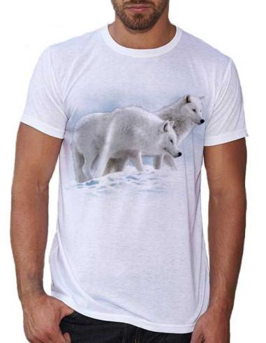 T-shirt blanc homme  avec loups blancs