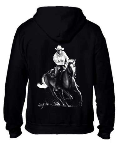 Sweat-shirt zippé Noir Homme - Mixte - Cowboy. Vue de dos.