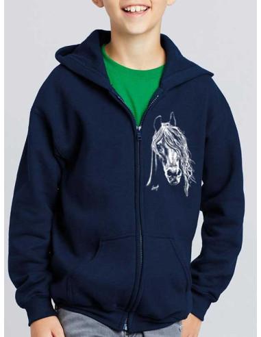 Sweat-shirt capuche avec zip enfant - Cheval blanc
