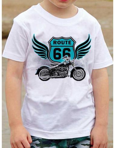T-shirt enfant avec moto H.D et Route 66