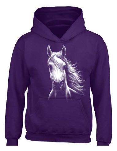 Sweat-shirt capuche pour femme - Cheval blanc