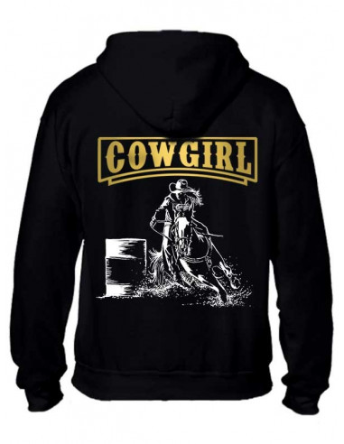 Sweat-shirt noir avec zip pour femme. Barrel. Western